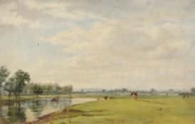 Attributed to George Thomas Rope (1845-1929), River landscape, oil on panel, 26 x 41cm