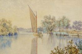 """Stephen John Batchelder (1849-1932), """"Near Wroxham"""", watercolour, signed lower left, 19 x 29cm"""