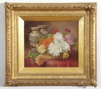 Eloise Harriet Stannard (1828-1915), Still Life study of flowers in a basket by a pair of Royal