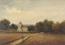 John Moore of Ipswich (1820-1902), Mother and child in landscape before a church, oil on canvas,