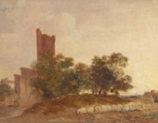 "Joseph Geldart (1808-1882) ""Caister Castle"", oil on board, 17 x 22cm"