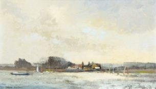 "•AR Mark Randall (20th century), ""Clouds at Pin Mill"", oil on board, signed lower left, 22 x 37cm"