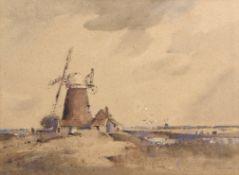 "•AR Arthur Edward Davies, RBA, RCA (1893-1988), ""Runham Mill, Castle Acre"", watercolour, signed"