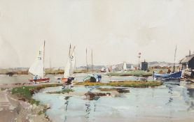 •AR Jack Cox (1914-2007), Fishing boats in North Norfolk estuary, mixed media, 18 x 27cm