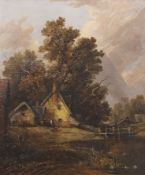 Joseph Paul (1804-1884), Landscape with Cottage and Figure, distant church, oil on canvas laid to