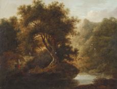 Attributed to John Crome (1768-1821), Mountain river landscape with mother and child, oil on canvas,