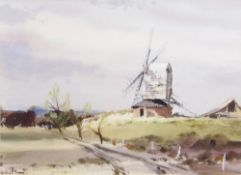 "AR Leslie L Hardy Moore, RI (1907-1997) ""Sprowston Mill"", watercolour, signed lower left, 26 x 36cm."