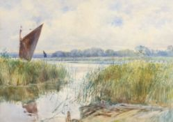 George Parsons Norman (1840-1914), Broadland scene, watercolour, signed lower right, 32 x 45cm