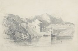 "Miles Edmund Cotman (1810-1858), ""Whitby, Yorkshire, April 1828"", pencil drawing, signed and"