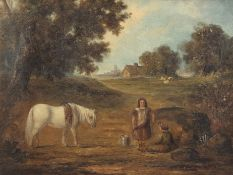 Edward Robert Smythe (1810-1899), Figures and white pony in a landscape, distant cottage and church,