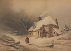 Henry Bright (1810-1873), Figure before a cottage in Winter, watercolour, 29 x 40cm
