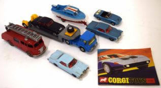 Group of mainly 1960s Corgi toy vehicles to include Bewick Riviera and Dolphin 20 cruiser trailer,