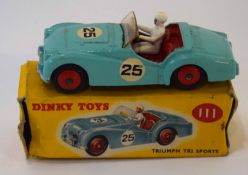 Dinky Triumph TR2 sports car model no 111, in original box