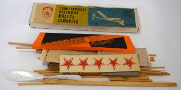 Vintage Russian self-build wooden glider toy in original box with instructions