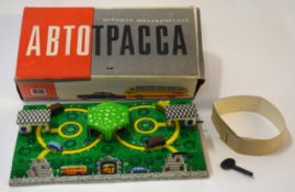 1950s/1960s Russian tin plate clockwork bus station in original box and protective packaging