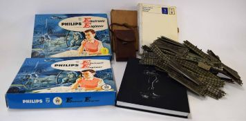 Box containing two vintage circa 1950s/1960s Philips Electronic Engineer sets in original boxes,