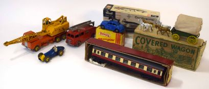 Mixed Lot: various vintage toys to include boxed covered wagon, Dinky Toys, Tri-ang Minic push and