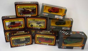 Quantity of eleven Corgi boxed cars to include Cars of the 50s, and Corgi Classics