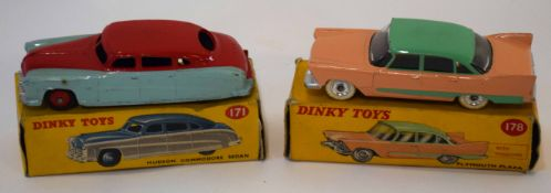 Dinky Plymouth Plaza model no 178, together with a Dinky Hudson Commodore Sedan model no 171, both