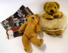 Vintage Merrythought teddy purse together with a collection of Royal photographs depicting a similar