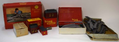 Group of Tri-ang 00 gauge model railway sets to include engine shed, mail coach set, track and 00