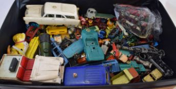 Suitcase containing a large quantity of mainly Matchbox and Lesney 1950s/60s toy cars together