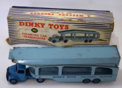 1950s Dinky Toys Pullmore car transport model no 982, in original blue and white striped box