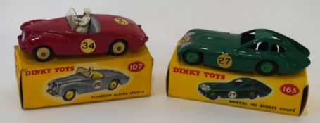 Dinky Bristol 450 sports coupe model no 163, together with a Sunbeam Alpine sports car, model no
