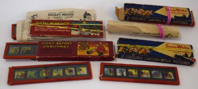 Quantity of vintage glass slides mainly Mickey Mouse and Disney's Snow White, in original packaging