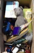 Box containing mixed lot of various vintage toys including vehicles, playing cards, model yacht