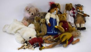 Box containing mixed plush collectors teddies and straw work model of an elf