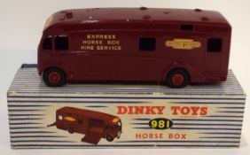 1950s Dinky Toys horsebox for British Railway, model no 981 in original blue and white striped box