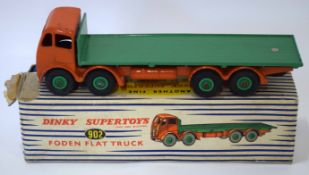 1950s Dinky Toys Foden flat truck, model no 902, in original blue and white striped box