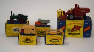Group of five Matchbox series vehicles to include Major No 5 Massey Ferguson Combine, all in