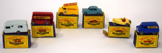 Group of six Matchbox series vehicles in original boxes to include model no 42 |Evening News|, model