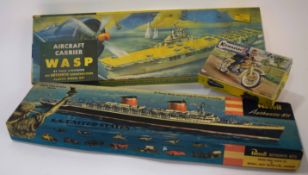 Three boxed vintage model kits to include SS United States by Revel and aircraft carrier Wasp
