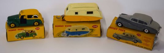 Dinky Austin Taxi model no 254, together with a Dinky Rolls Royce Silver Wraith model no 150 plus