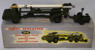 1950s Dinky Toys Missile Erector vehicle with Corporal missile and launching platform, model no 666,