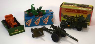 Group of 1960s toy vehicles including boxed Jeep field gun, model no A104