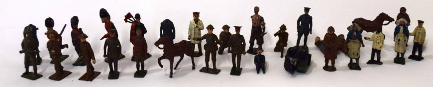 Quantity of vintage lead figures mainly of soldiers, mostly by J Hill and Britains