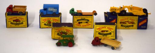 Group of six Matchbox series vehicles to include Removals van (no 17), Major No 1, all in original