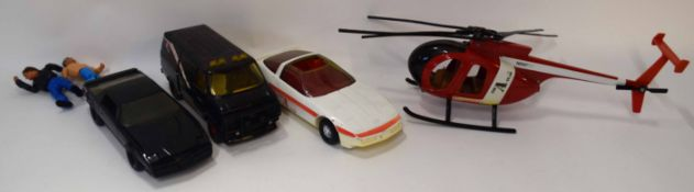 Box containing vintage A-team vehicles to include van, helicopter etc, together with a further