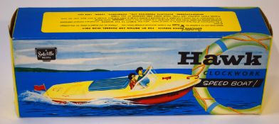 Vintage circa 1960s Hawk clockwork speedboat model by Sutcliffe, sealed in original box
