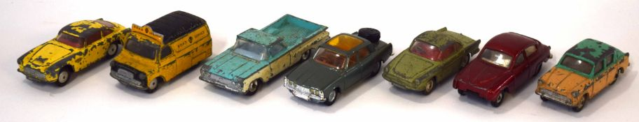 Group of seven 1960s Corgi toy vehicles to include Rover 2000TC and Bedford AA van