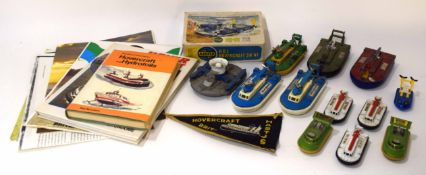 Box containing circa 1970s mainly Matchbox toy hovercrafts together with hovercraft interest books