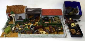 Vintage wooden scratch built model of a farm together with a large quantity of lead figures