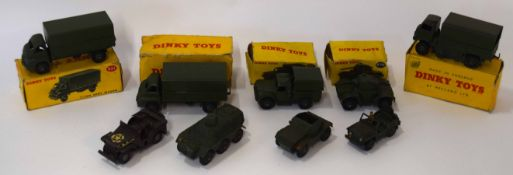 Group of 1950s Dinky Toys Army vehicles to include 3-ton Army wagon model no 621, armoured car model