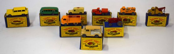 Group of nine Matchbox series vehicles to include model no 37 - Coca Cola truck, model no 29 -