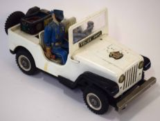Vintage tin plate Police Jeep circa 1960s (a/f)