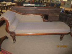 William IV rosewood chaise longue upholstered in blue geometric pattern fabric, 2m long